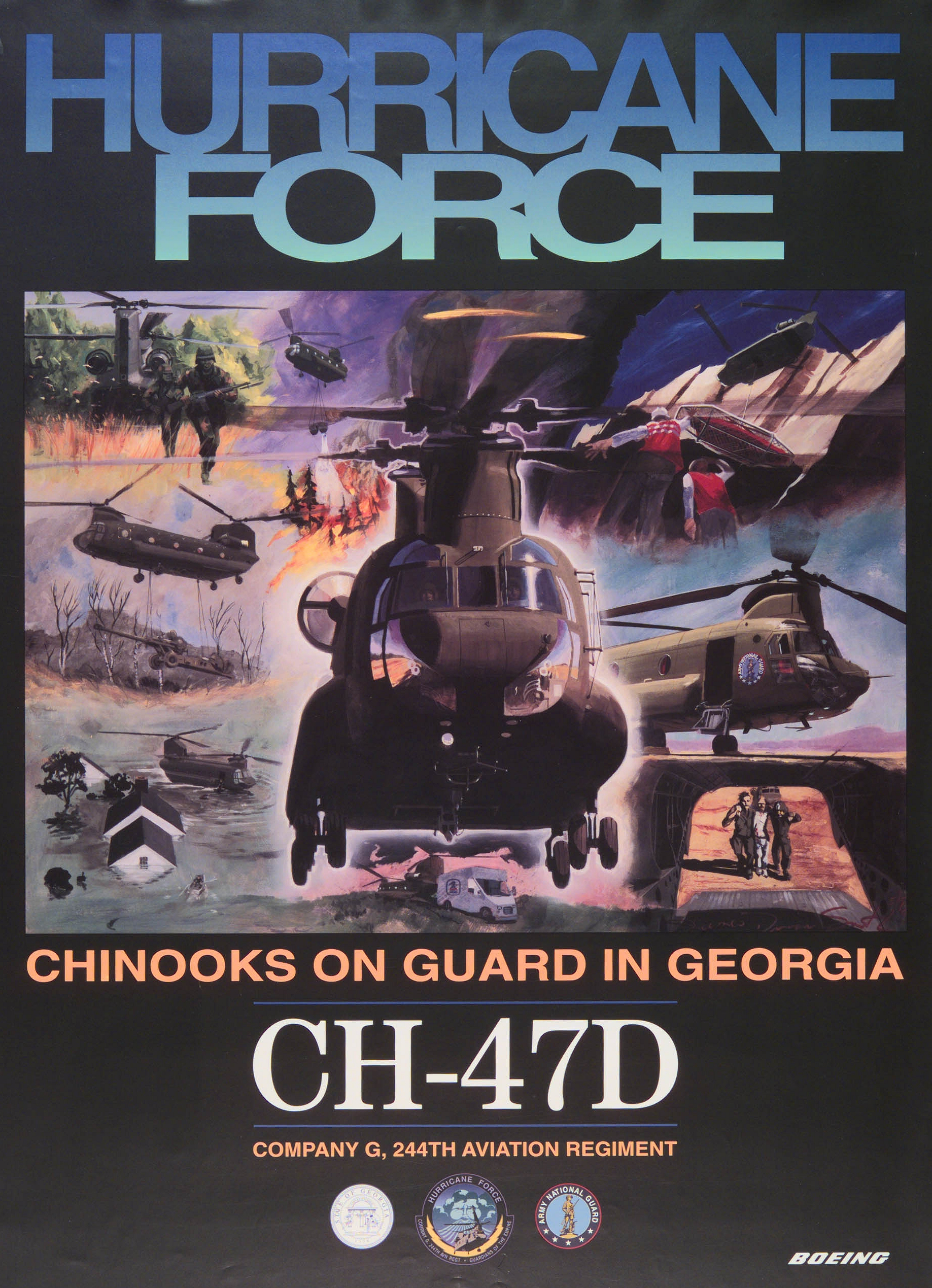 Boeing CH-47D Chinook helicopter - Fielding Posters from