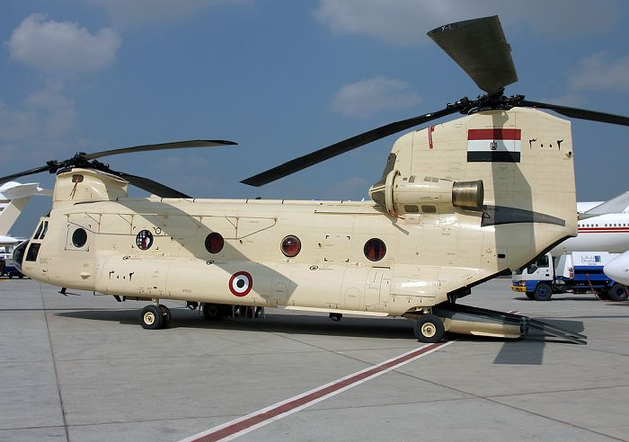 An Egyptian Chinook seen at the Dubai Airshow.